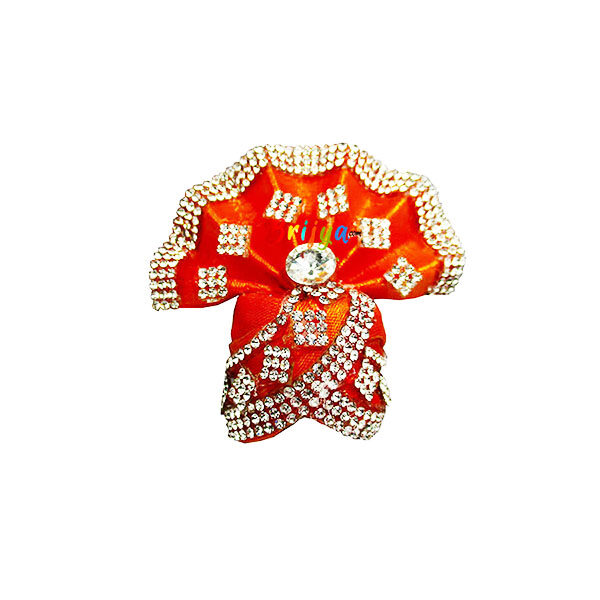 Orange-Rich-Jarkan-Stone-Work Laddu-Gopal-Pagdi