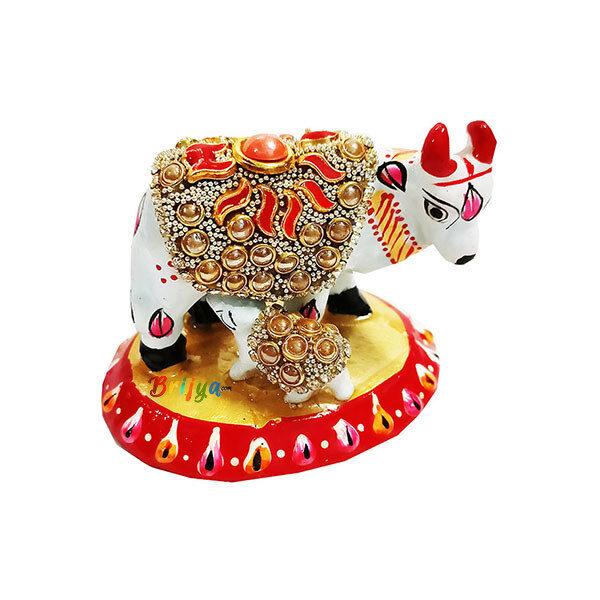 PD1-W Shri Krishna Heavy Stone Kamdhenu Cow With Calf