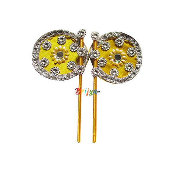 PD1-Y A Pair Glass Work Yellow Laddu Gopal Hand Pankha