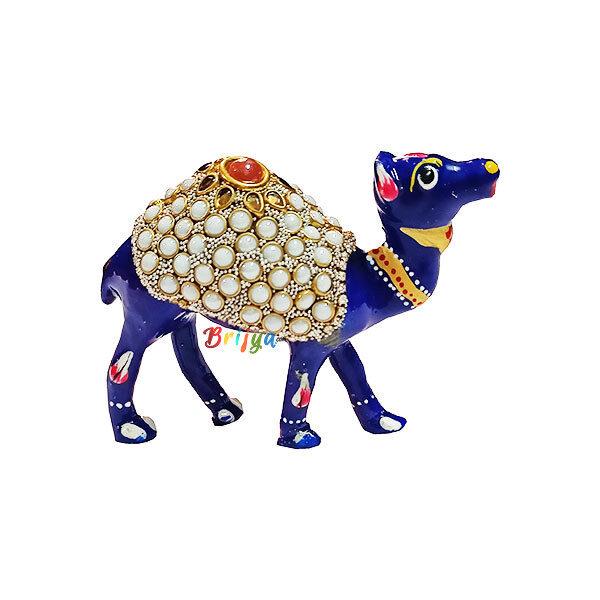 PD2-B Blue Heavy Stone Work Camel Toy For Laddu Goapl Ji