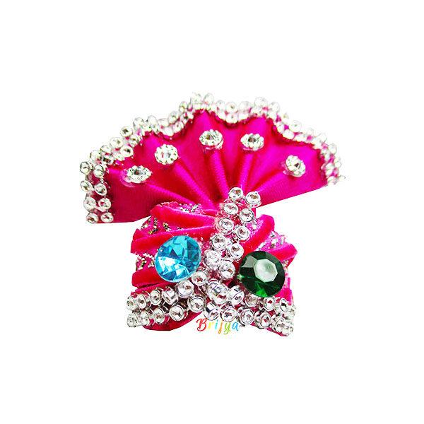 Pink-Stone-Beads Work-Laddu-Gopal-Pagdi
