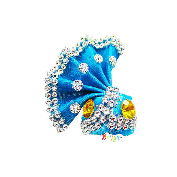 SkyBlue-Stone-Beads Work-Laddu-Gopal-Pagdi