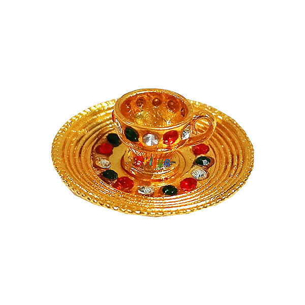 GT24-GM Golden Multi Stone Cup Plate Set Toy For Laddu Gopal Ji