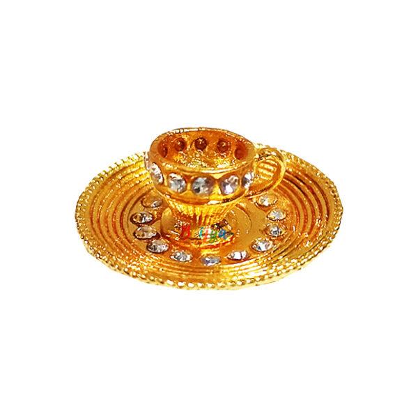 GT24-W White Stone Cup Plate Set Toy For Laddu Gopal Ji